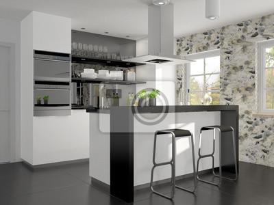 Kleine küche mit kochinsel und theke wandposter • poster ...