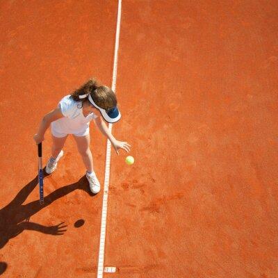 Poster Kleine Tennis-Champion Vorbereitung zu dienen