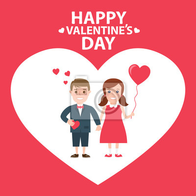 Poster Kleiner Junge und kleines Mädchen mit Herz-Ballon. Paar in der love.happy valentines Tag