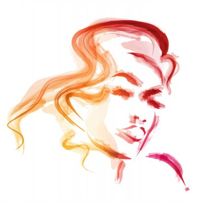 Poster kobieta akwarela wektor