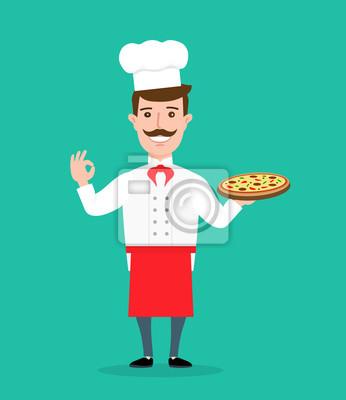 Poster Koch mit Pizza