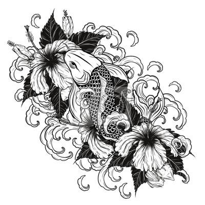 Koi Fisch Und Hibiskus Tattoo Von Hand Zeichnungtattoo Kunst