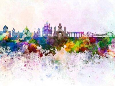 Kolkata skyline in watercolor background