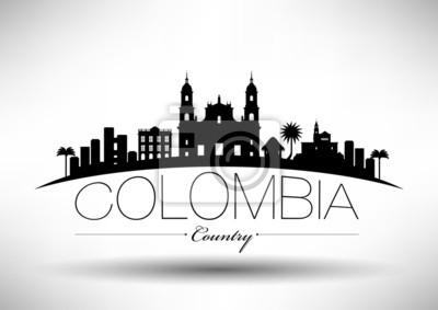 Kolumbien Typografische Skyline Design