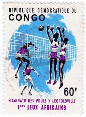 Poster KONGO - CIRCA 1975: Briefmarke in Kongo gedruckt zeigt Sportler valley, ca. 1975