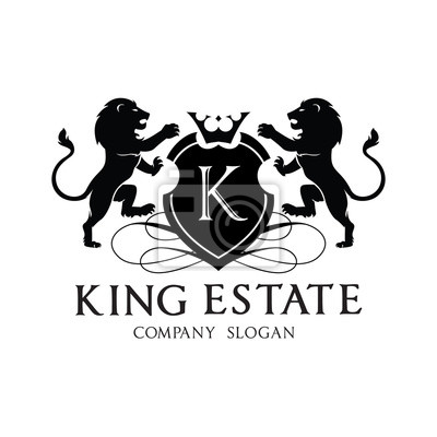 König-wappen-logo, löwe-logo, immobilien-logo, hotel-logo, vektor ...