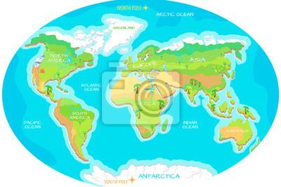 Karte Kontinente Welt.Poster Kontinente Ozeane Auf Karte Der Welt Unser Planet
