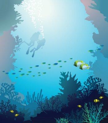 Poster Korallenriff und Taucher. Unterwasser.