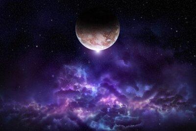 Poster Kosmos-Szene mit Planeten, Nebel und Sternen im Raum