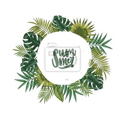 Poster Kranz oder kreisförmige Girlande aus Palmblättern oder Laub tropischer Pflanzen und Schriftzug Sommer im Inneren. Dekoratives natürliches Gestaltungselement lokalisiert auf weißem Hintergrund. Vektor-