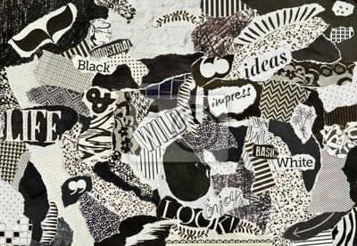 Poster Kreativ Atmosphäre Kunst mood board collage Blatt in Farbe Idee schwarz und weiß aus teared Magazine und bedruckt Papier mit Zeichen und Texturen