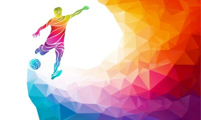 Poster Kreative Silhouette der Fußballspieler. Fußballspieler tritt den Ball in trendy abstrakte bunte Polygon Regenbogen zurück