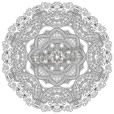 Poster Kreis Ornament, Schwarz-Weiß-ornamentale runden Spitzen