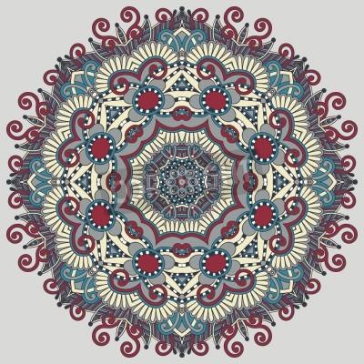Poster Kreis Spitze Ornament, ornamentale runden geometrischen Deckchen Muster