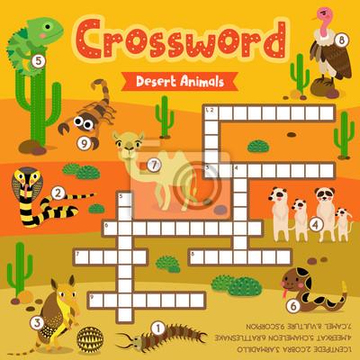 Kreuzworträtsel-puzzlespielspiel der wüstentiere für vorschulkind ...