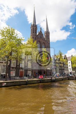 Krijtberg Kerk church at the Singel canal. Amsterdam.