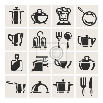 Küche wandposter • poster Bratpfanne, Essstäbchen, opener | myloview.de