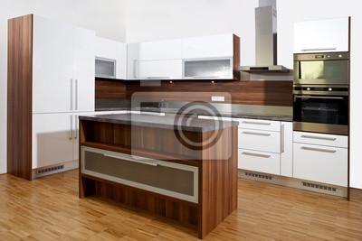 Küche in braun und weiß wandposter • poster Eklektizismus ...