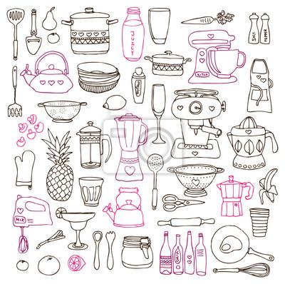 Poster Für Küche | Kuche Lebensmittel Kochen Illustrationen Zeichnungen Im Vektor