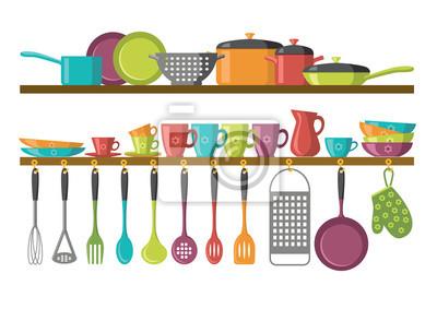 Küche regale und kochutensilien wandposter • poster receipe, Reibe ...
