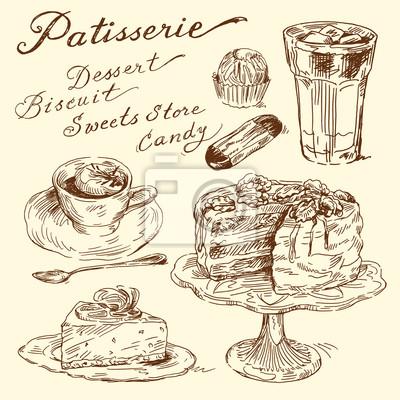 Kuchen Kekse Kaffee Hand Gezeichneten Elemente Wandposter