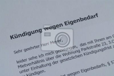 Kündigung Wegen Eigenbedarf Wohnung Mietrecht Miete Wandposter