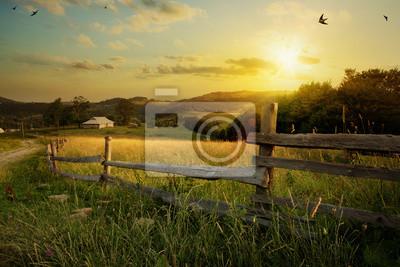 Poster Kunst Landschaft Landschaft; Ländlichen Bauernhof und Ackerland