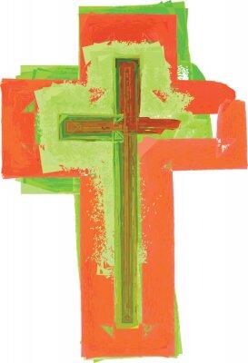 Poster Künstlerische abstrakte Aquarellart buntes modernes grünes und rotes Kreuz
