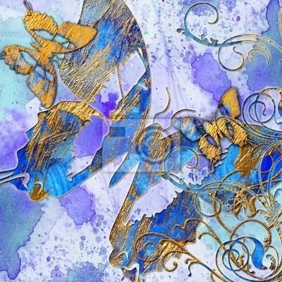 künstlerischen Abstraktion blau mit Schmetterlingen
