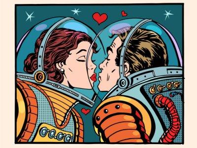 Poster Kuss Raum Mann und Frau Astronauten