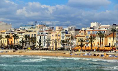 Küste Urlaubsort Sitges, Costa Dorada, Spanien