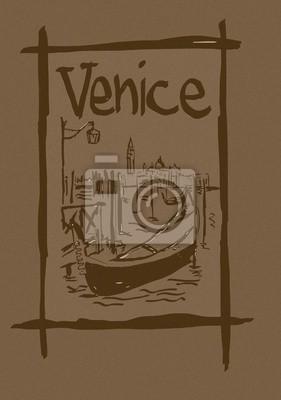 Lagune von Venedig Jahrgang Skizze