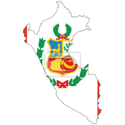 Peru Karte Umriss.Poster Land Umriss Mit Der Flagge Von Peru