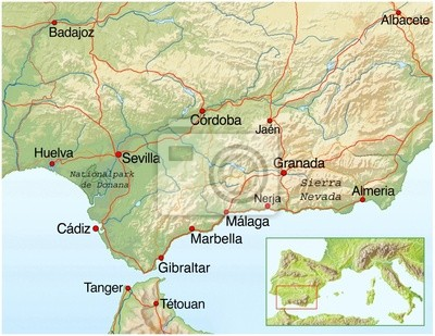 Karte Andalusien Cadiz.Poster Landkarte Von Andalusien