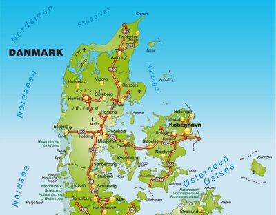 Landkarte Von Danemark Wandposter Poster Danemark Ostsee