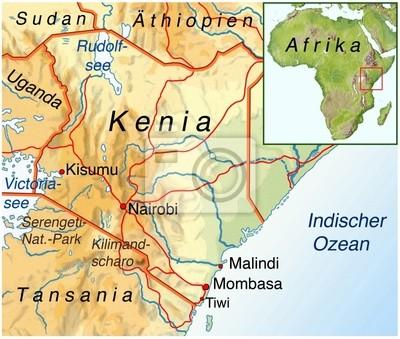 Kenia Karte.Poster Landkarte Von Kenia