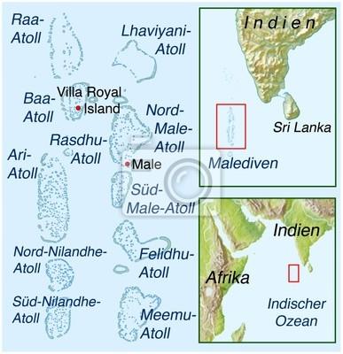 Landkarte Von Malediven Hohle Wandposter Poster Atoll Malediven