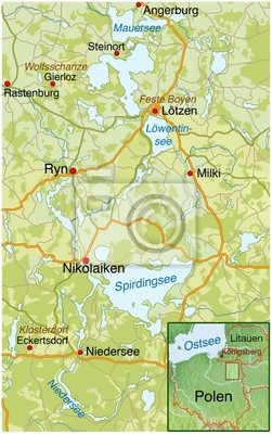 Landkarte Von Masuren Polen Wandposter Poster Karte Animierte