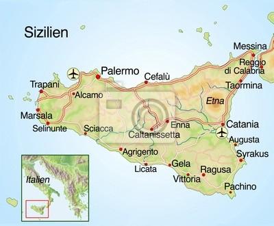 Landkarte Von Sizilien Mit Text Wandposter Poster Sieg Sciacca