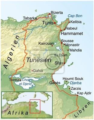 Tunesien Karte.Poster Landkarte Von Tunesien