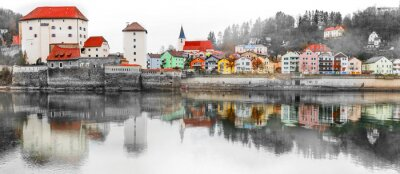 Landmarks and beautiful old towns of Germany - Passau in Bavaria. Artistic toned picture