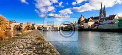 Landmarks of Germany - beautiful medieval town Regensburg in Bavaria