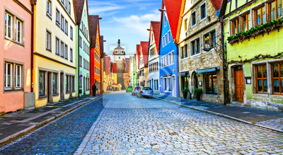 Landmarks of Germany - Rothenburg ob der Tauber in Bavaria. Famous traditional village with colorful houses