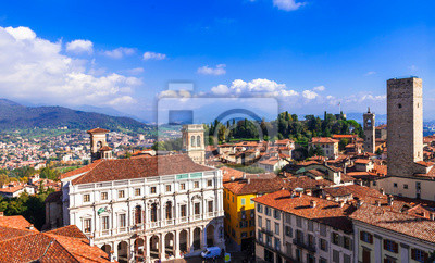 Landmarks of northern Italy - medieval Bergamo. panoramic view of old town
