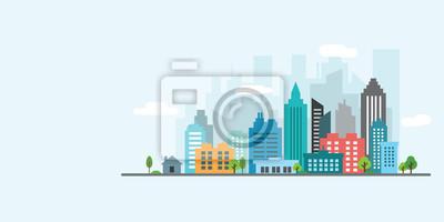 Poster landscape city vector