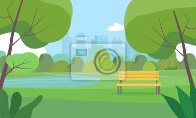 Poster Landscape in city park . Vector flat style Illustration.