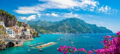 Poster Landscape with Atrani town at famous amalfi coast, Italy