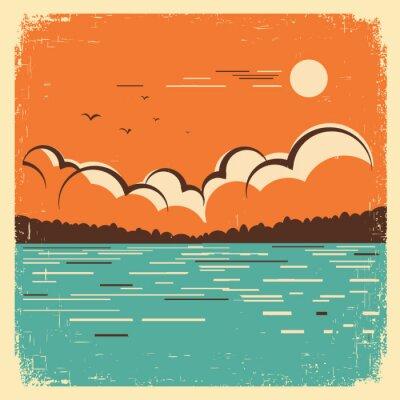 Poster  landscape with blue big lake on old poster