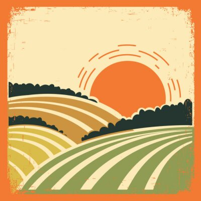 Poster  landscape with fields on old poster