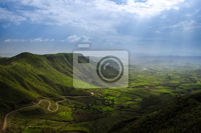 Landschaft von einem Aussichtspunkt in Lalibela